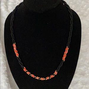 Vintage black, coral & gold twisted bead n…